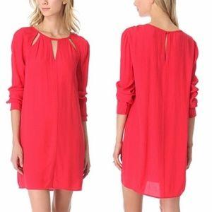 BCBG Red Emmalise Long Sleeve Cutout Dress Sz XS